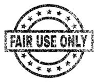 Scratched Textured FAIR USE ONLY Stamp Seal. FAIR USE ONLY stamp seal watermark with distress style. Designed with rectangle, circles and stars. Black vector royalty free illustration