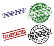 Scratched Textured FDA RESTRICTED Seal Stamps. FDA RESTRICTED seal stamps with corroded surface. Black, green,red,blue vector rubber prints of FDA RESTRICTED tag stock illustration