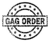 Scratched Textured GAG ORDER Stamp Seal. GAG ORDER stamp seal watermark with distress style. Designed with rectangle, circles and stars. Black vector rubber royalty free illustration