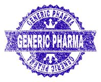 Scratched Textured GENERIC PHARMA Stamp Seal with Ribbon stock illustration