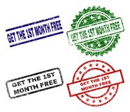 Scratched Textured GET THE 1ST MONTH FREE Stamp Seals. GET THE 1ST MONTH FREE seal prints with damaged style. Black, green,red,blue vector rubber prints of GET royalty free illustration