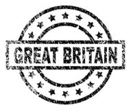 Scratched Textured GREAT BRITAIN Stamp Seal. GREAT BRITAIN stamp seal watermark with distress style. Designed with rectangle, circles and stars. Black vector stock illustration