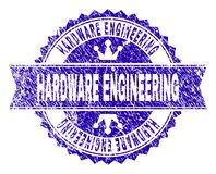 Scratched Textured HARDWARE ENGINEERING Stamp Seal with Ribbon. HARDWARE ENGINEERING rosette seal watermark with distress texture. Designed with round rosette royalty free illustration