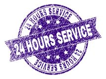 Scratched Textured 24 HOURS SERVICE Stamp Seal. 24 HOURS SERVICE stamp seal imprint with distress texture. Designed with ribbon and circles. Violet vector rubber Stock Image