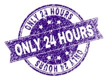 Scratched Textured ONLY 24 HOURS Stamp Seal. ONLY 24 HOURS stamp seal watermark with distress texture. Designed with ribbon and circles. Violet vector rubber Royalty Free Stock Photos