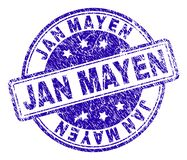 Scratched Textured JAN MAYEN Stamp Seal. JAN MAYEN stamp seal watermark with distress texture. Designed with rounded rectangles and circles. Blue vector rubber stock illustration