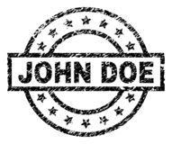 Scratched Textured JOHN DOE Stamp Seal. JOHN DOE stamp seal watermark with distress style. Designed with rectangle, circles and stars. Black vector rubber print stock illustration