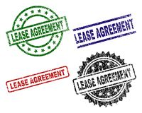 Scratched Textured LEASE AGREEMENT Seal Stamps. LEASE AGREEMENT seal prints with corroded style. Black, green,red,blue vector rubber prints of LEASE AGREEMENT stock illustration