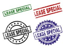 Scratched Textured LEASE SPECIAL Seal Stamps. LEASE SPECIAL seal prints with corroded style. Black, green,red,blue vector rubber prints of LEASE SPECIAL title stock illustration