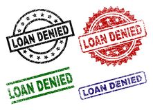 Scratched Textured LOAN DENIED Stamp Seals. LOAN DENIED seal prints with corroded texture. Black, green,red,blue vector rubber prints of LOAN DENIED label with stock illustration