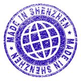 Scratched Textured MADE IN SHENZHEN Stamp Seal vector illustration