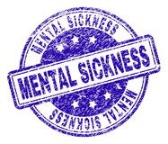 Scratched Textured MENTAL SICKNESS Stamp Seal. MENTAL SICKNESS stamp seal imprint with grunge texture. Designed with rounded rectangles and circles. Blue vector vector illustration