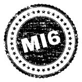 Scratched Textured MI6 Stamp Seal. MI6 seal stamp with corroded texture. Black vector rubber print of MI6 label with corroded texture. Rubber seal imitation has royalty free illustration
