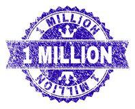Scratched Textured 1 MILLION Stamp Seal with Ribbon. 1 MILLION rosette stamp seal watermark with distress style. Designed with round rosette, ribbon and small stock illustration