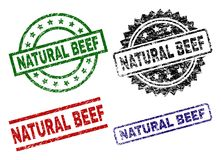 Scratched Textured NATURAL BEEF Seal Stamps vector illustration