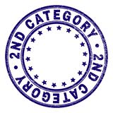 Scratched Textured 2ND CATEGORY Round Stamp Seal. 2ND CATEGORY stamp seal imprint with distress texture. Designed with circles and stars. Blue vector rubber stock illustration