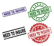 Scratched Textured NEED TO INSURE Seal Stamps. NEED TO INSURE seal prints with distress surface. Black, green,red,blue vector rubber prints of NEED TO INSURE vector illustration