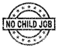 Scratched Textured NO CHILD JOB Stamp Seal. NO CHILD JOB stamp seal watermark with distress style. Designed with rectangle, circles and stars. Black vector vector illustration