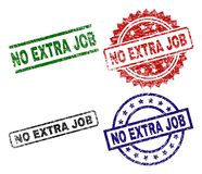 Scratched Textured NO EXTRA JOB Seal Stamps. NO EXTRA JOB seal prints with distress surface. Black, green,red,blue vector rubber prints of NO EXTRA JOB label stock illustration