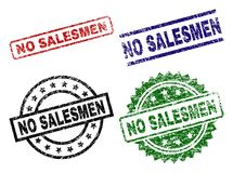 Scratched Textured NO SALESMEN Stamp Seals. NO SALESMEN seal stamps with corroded surface. Black, green,red,blue vector rubber prints of NO SALESMEN caption with stock illustration