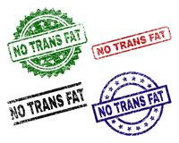 Scratched Textured NO TRANS FAT Stamp Seals. NO TRANS FAT seal prints with distress surface. Black, green,red,blue vector rubber prints of NO TRANS FAT tag with Vector Illustration