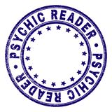 Scratched Textured PSYCHIC READER Round Stamp Seal. PSYCHIC READER stamp seal watermark with distress texture. Designed with circles and stars. Blue vector stock illustration