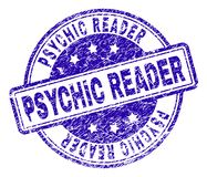 Scratched Textured PSYCHIC READER Stamp Seal. PSYCHIC READER stamp seal imprint with grunge texture. Designed with rounded rectangles and circles. Blue vector vector illustration