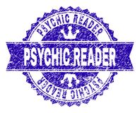 Scratched Textured PSYCHIC READER Stamp Seal with Ribbon. PSYCHIC READER rosette stamp watermark with grunge style. Designed with round rosette, ribbon and small stock illustration