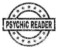 Scratched Textured PSYCHIC READER Stamp Seal. PSYCHIC READER stamp seal watermark with distress style. Designed with rectangle, circles and stars. Black vector royalty free illustration