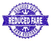 Scratched Textured REDUCED FARE Stamp Seal with Ribbon. REDUCED FARE rosette stamp watermark with grunge texture. Designed with round rosette, ribbon and small stock illustration