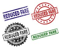 Scratched Textured REDUCED FARE Stamp Seals. REDUCED FARE seal stamps with corroded style. Black, green,red,blue vector rubber prints of REDUCED FARE text with vector illustration