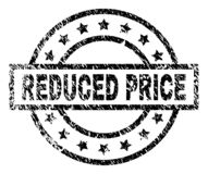 Scratched Textured REDUCED PRICE Stamp Seal. REDUCED PRICE stamp seal watermark with distress style. Designed with rectangle, circles and stars. Black vector vector illustration
