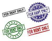 Scratched Textured FOR RENT ONLY Seal Stamps. FOR RENT ONLY seal prints with distress surface. Black, green,red,blue vector rubber prints of FOR RENT ONLY stock illustration