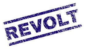 Scratched Textured REVOLT Stamp Seal. REVOLT seal print with scratced style. Blue vector rubber print of REVOLT caption with grunge texture. Text label is placed stock illustration