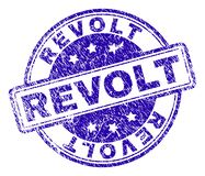 Scratched Textured REVOLT Stamp Seal. REVOLT stamp seal imprint with distress texture. Designed with rounded rectangles and circles. Blue vector rubber print of vector illustration