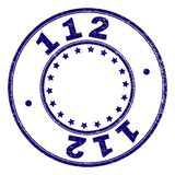 Scratched Textured 112 Round Stamp Seal. 112 stamp seal imprint with grunge texture. Designed with circles and stars. Blue vector rubber print of 112 text with stock illustration