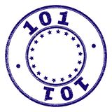 Scratched Textured 101 Round Stamp Seal. 101 stamp seal watermark with grunge texture. Designed with circles and stars. Blue vector rubber print of 101 label royalty free illustration