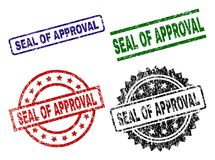 Scratched Textured SEAL OF APPROVAL Seal Stamps. SEAL OF APPROVAL seal prints with corroded surface. Black, green,red,blue vector rubber prints of SEAL OF vector illustration