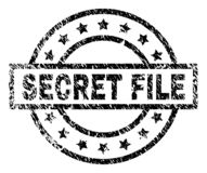 Scratched Textured SECRET FILE Stamp Seal. SECRET FILE stamp seal watermark with distress style. Designed with rectangle, circles and stars. Black vector rubber vector illustration