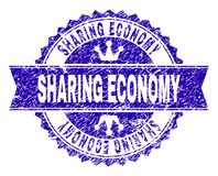 Scratched Textured SHARING ECONOMY Stamp Seal with Ribbon. SHARING ECONOMY rosette seal overlay with distress texture. Designed with round rosette, ribbon and royalty free illustration