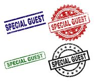 Scratched Textured SPECIAL GUEST Stamp Seals vector illustration