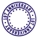 Scratched Textured 1ST ANNIVERSARY Round Stamp Seal. 1ST ANNIVERSARY stamp seal watermark with distress texture. Designed with circles and stars. Blue vector royalty free illustration