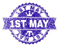 Scratched Textured 1ST MAY Stamp Seal with Ribbon. 1ST MAY rosette stamp watermark with distress texture. Designed with round rosette, ribbon and small crowns royalty free illustration