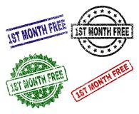 Scratched Textured 1ST MONTH FREE Seal Stamps. 1ST MONTH FREE seal prints with distress surface. Black, green,red,blue vector rubber prints of 1ST MONTH FREE stock illustration