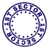 Scratched Textured 1ST SECTOR Round Stamp Seal. 1ST SECTOR stamp seal watermark with grunge texture. Designed with circles and stars. Blue vector rubber print of vector illustration