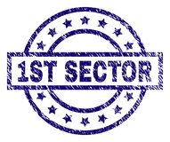 Scratched Textured 1ST SECTOR Stamp Seal. 1ST SECTOR stamp seal watermark with distress texture. Designed with rectangle, circles and stars. Blue  rubber print Royalty Free Stock Image