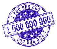 Scratched Textured 1 000 000 000 Stamp Seal. 1 000 000 000 stamp seal imprint with grunge texture. Designed with rounded rectangles and circles. Blue vector stock illustration