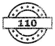 Scratched Textured 110 Stamp Seal. 110 stamp seal watermark with distress style. Designed with rectangle, circles and stars. Black vector rubber print of 110 stock illustration