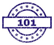 Scratched Textured 101 Stamp Seal. 101 stamp seal watermark with distress texture. Designed with rectangle, circles and stars. Blue vector rubber print of 101 royalty free illustration