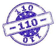 Scratched Textured 110 Stamp Seal. 110 stamp seal watermark with distress texture. Designed with rounded rectangles and circles. Blue vector rubber print of 110 vector illustration
